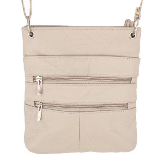 Echtes Leder Kleine Schulter überqueren Körper Reise Mini-Geldbeutel-Tasche Durch Silber Fever ® cremefarben