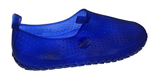Piccoli monelli ciabatte scarpe scogli antiscivolo chiuse per il mare in gomma colore blu elettrico tg 45 cm 27,5