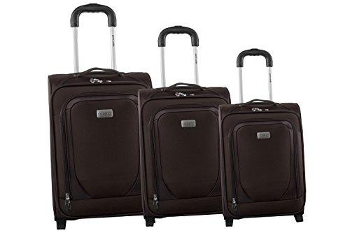 3 Maletas semirrígidas PIERRE CARDIN marrón cabina para viajes S244