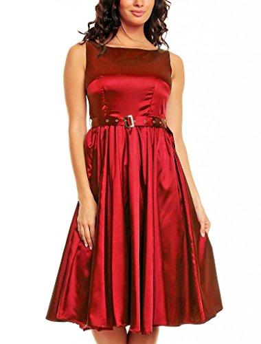 My Evening Dress- Robe de soirée Vintage Style Audrey Hepburn Rockabilly swing Bordeaux