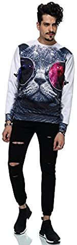 Pizoff Unisex Hip Hop sweatshirts with 3D Digital printing 3D pattern cat cat with sun glass
