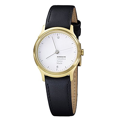 £250.75 Best Seller Mondaine Helvetica No1 Light Women's Watch, IP Gold Plated Case wit Black Leather Strap, Sapphire Crystal
