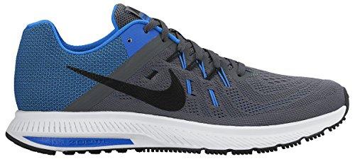 Nike Zoom Winflo 2, Chaussures de Running Entrainement Homme, Taille Gris / noir / bleu / blanc (gris foncé / noir - explosion - blanc)