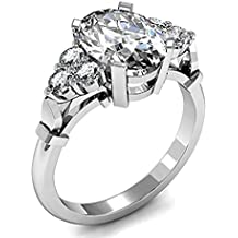 18K oro blanco, corte ovalado 4Prong ajuste lateral diamante compromiso anillo de boda tamaño–5,5