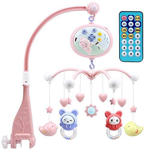 Lvbeis Baby Mobile Bett Glocke Spieluhr FüR Babybett Musik Mobile Baby Krippe Mit Projektion Mit Fernbedienung,pink