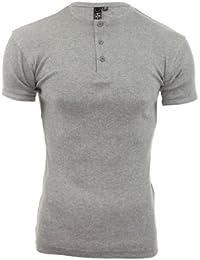SoulStar - T-Shirt Homme Côtelé Encolure Grand-Père Uni Moulant Jersey