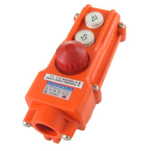 Water & Wood Rainproof Hoist Crane Pushbutton Switch Up Down w Emergency Stop 250V 5A 500V 2A Emergency Light Switch
