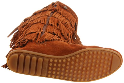 Minnetonka 5-Layer Fringe Boot 1652, Damen Mokassin Stiefel Braun (Brown 2)