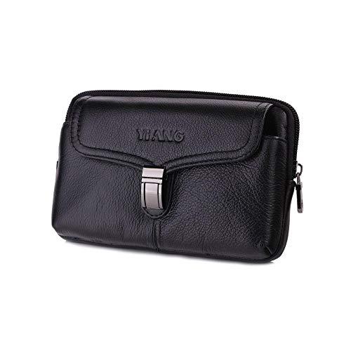 Womdee Gürteltasche für Herren, aus echtem Leder, Mini-Reisetasche mit Clip für Kreditkarten, Führerschein, iPhone X, Samsung Android Smartphone etc. Black-01