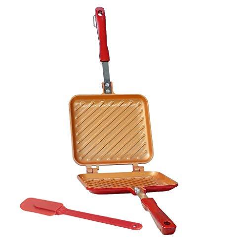 Flip Grill + Spatule en Silicone - Poêle 16x15cm Tous Feux Dont Induction pour Toaster, Griller et rôtir en Un Tour de Main