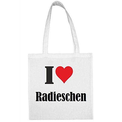 Tasche I Love Radieschen Größe 38x42 Farbe Weiss Druck Schwarz