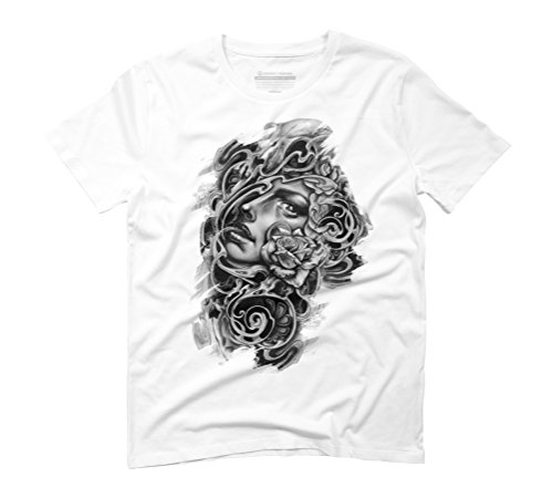 girl, roses, skulls. Men's Graphic T-Shirt - Design By Humans White