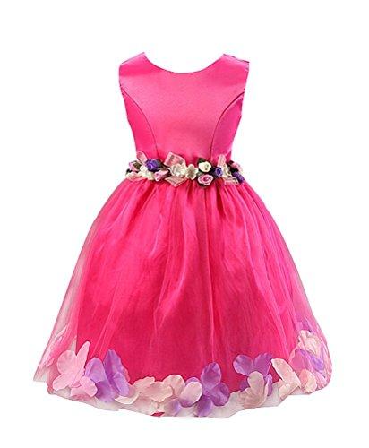 Katara 1710 - Fest-Kleid für Mädchen mit Tüll-Rock und Blumen Dekors, pink,Gr. 110/116 (Etikett 120) (Prinzessin Toadstool Kostüm)