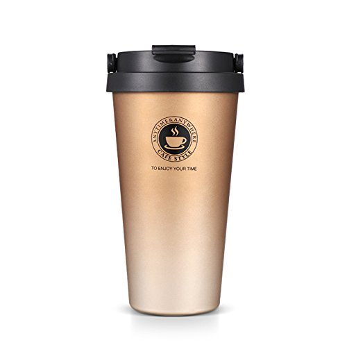 SLOSH Vaso Termico Café Termo Taza Termica Viaje Botella Acero Inoxidable Agua para Llevar Sin Bpa Thermos Frascos INOX Copa Hermetico Taza Coche Bebida 500ml (Dorado)
