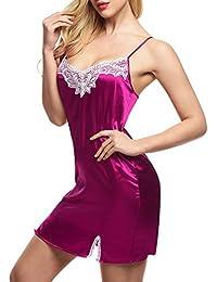 CRAVOG 2016 Mode Sexy Mini Robes De Nuit Splittable Dentelle Pyjamas Satin A Bretelle Fine