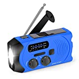 Emergency Sola Powered AM/FM Hand-Crank Radio with Bright Flashlight, SOS Alarm and 2000mAh