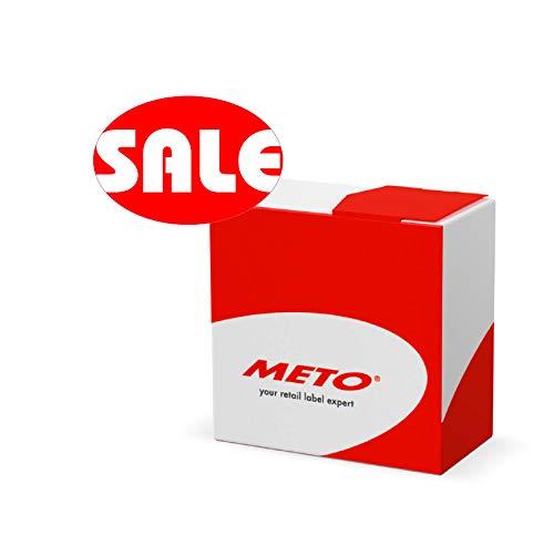 Meto Original Aktionsetiketten Kit - Sale - in praktischer Spenderbox (50 x 34 mm, oval, rot/weß, permanent, 750 Etiketten auf Rolle, Haftetiketten 30001972)