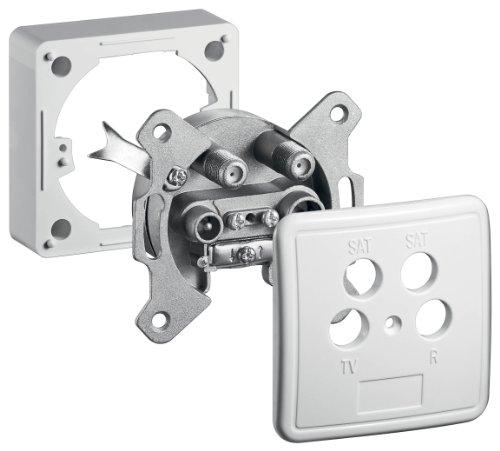 Goobay 67089 4-Loch Antennen-Dose (2x SAT / TV /Radio) für Unterputz- und Aufputz-Montage, Weiß