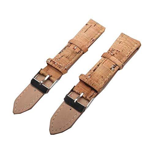 Naturkork-Uhrarmband, Sliver-Uhrarmband Rustikaler Kork mit Pu-Leder, handgefertigt vegan Hochwertig, umweltfreundlich Wasserdichtes Wachs Nachhaltiges Kork-Uhrarmband (Sliver-20MM) E-004 -(eCorcho) -