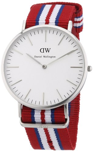 Daniel Wellington Exeter Silver Men's Quartz Watch with White Dial Analogue Display and Multicolour Nylon Strap 0212DW