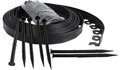 Flexible Rasenkante aus Kunststoff mit 30 Sicherungsdübeln zur Verankerung, flexible 10-m-lange Rasenkante, schwarz