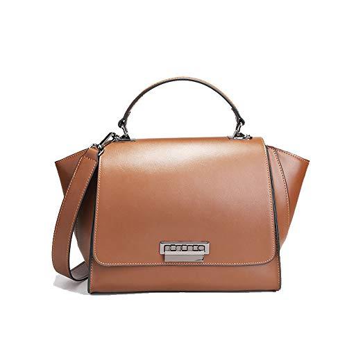 Kieuyhqk Damen Leder Handtaschen mit großer Kapazität Messenger Schultertasche Einfache EinkaufstascheDamen Casual Handtasche Schulter-Handtasche (Farbe : Braun)
