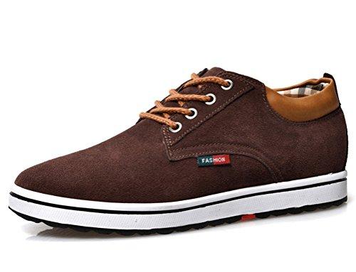 ailishabroy Männer Echtes Veloursleder Leder Aufzug Schuh Männer Höhe Erhöhung Schnürung Casual Schuhe (43 EU, Braun) (Casual-walking-soft-leder-schuhe)