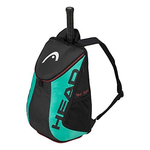 HEAD Tour Team Rucksack Tennistasche, Unisex, 283170bkte, Schwarz/Blaugrün, Einheitsgröße