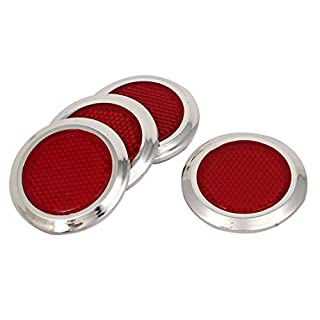 sourcingmap 4Stk. rot silbern Oval Auto Reflektierende Aufkleber selbstklebender Reflektor