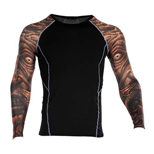 Herren Yoga Fitness Soft T-Shirt Rundhals-Ausschnitt Slim Fit Langarm Trainingsshirt Top Sport Sweatshirt Druck Bluse von Btruely -