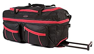 Wheeled Holdall | Alexander Graham| Roller Travel Duffel Bag |30 inch huge capacity holdall with wheels with 2 zipped compartment pockets on the side | Pull out Handle