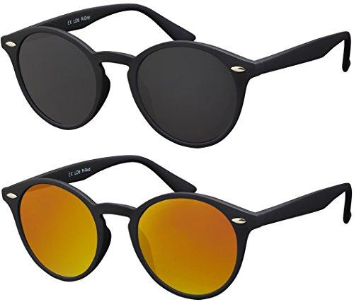 Originale la optica uv400 occhiali da sole unisex specchiata rotondi - confezione doppia gommata nero (lenti: 1 x grigio, 1 x rosso specchiato)
