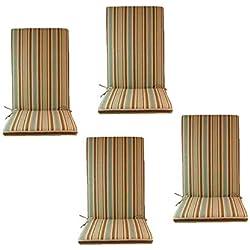 Edenjardi Pack 4 Cojines de Exterior para sillones reclinables Color Lux Estampado a Rayas | Tamaño 114x48x5 cm | Repelente al Agua | Desenfundable | Portes Gratis
