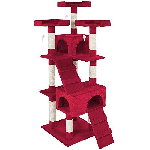 Características del producto:• 2 casetas con recubrimiento de felpa para que su gato se relaje • Múltiples niveles • 4 ratones de juguete en bandas elásticas • 3 plataformas para tumbarse y descansar con fantásticas vistas • Muy buen acabado y con...