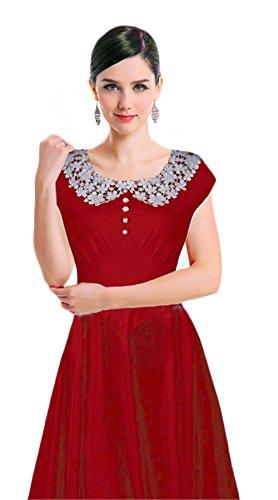 Dabag -Charmant pure couleur Doll Col dentelle manche courtes genou longueur mince taille grande robe Swing (S, Noir) Rouge