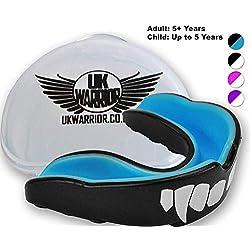 Child Black & Blue UK Warrior - Bouclier 'Vampire' - Bouclier en caoutchouc ultime pour la boxe, les arts martiaux, le karaté, le rugby - Protection idéale des dents pour le sport