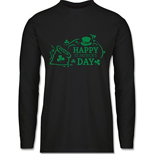 Shirtracer Festival - Happy St. Patricks Day Badge - Herren Langarmshirt  Schwarz