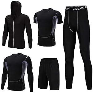 Shengwan Sportbekleidung Herren Fitness Bekleidung Trainingsanzug 5Pcs Set, Sportjacke mit Kapuze+Elastische Kompressionsshirt+Sporthose Leggings+Trainingsshorts