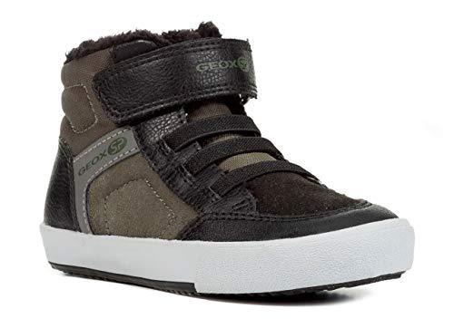 Geox J845CB Gisli Jungen Sneaker, Skater Schuh, Klettverschluss, Gummizug, Warm gefüttert, Atmungsaktiv Schwarz (Black/Military), EU 30
