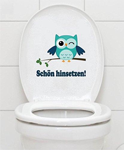 Preisvergleich Produktbild WC Aufkleber - Schön hinsetzen! - Eule Toilettendeckel A075