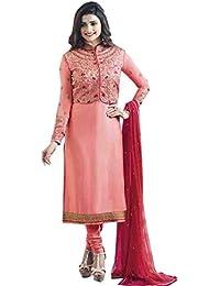 Prachi Desai Designer Peach Embroidered Straight Salwar Suit