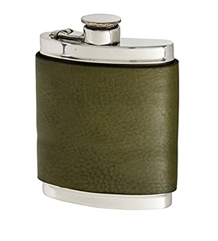 Wentworth Pewter- Racing Green Leather Pewter Kidney Flask,Hip Flask, Spirit Flask, 6oz capacity, with captive top
