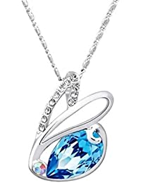NEVI Swan Animal Fashion Swarovski Elements Rhodium Plated Matinee  Pendant Necklace Jewellery for Women & Girls (Blue & Silver)