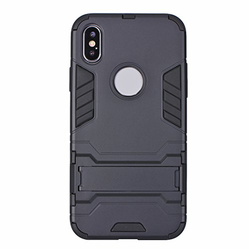 iPhone X Case Armor, iPhone 10 Hülle Armor mit Stand, iPhone X Hard Case, Moon mood® Reifen Striped Handy Fall 2 in 1 Hybrid Armor Schutzhülle für Apple iPhone X / iPhone 10 5.8 Zoll Hart PC + Weich T A Schwarz