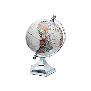 KALIFANO 3 Gemstone Globe with Opal Opalite Ocean with Bright Silver Contempo Stand by Alexander Kalifano