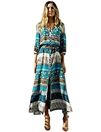 d320e4a5506c69 NPRADLA 2018 Frauen Sommer Böhmische Tunika Floral Party Strand Lange Maxi  Kleid Sommerkleid