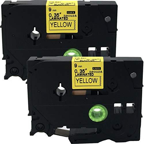 Neouza 2PK compatibile per Brother P-Touch Laminated TZe TZ Label tape Cartridge 9mm x 8m Tze-621 black on yellow.