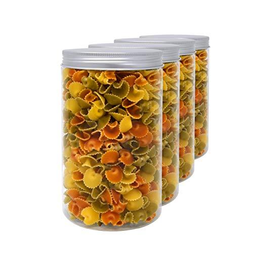 Pack 4 Botes de Polietileno Alimentario, 1,3 L (18x10cm), Tarros con Tapa...