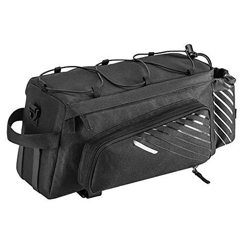 YUDIYUDI-PR Multi-Tasche Fahrradpacktaschen, 9-12L Nylon Fahrradtasche Tasche mit Reflektoren Stamm Tasche mit Flaschen-Fall (Farbe : Schwarz, Größe : 9-12L) -