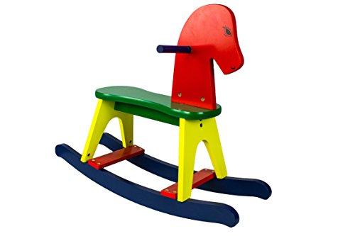 AVANTI TRENDSTORE - Bandu - Cavallo a dondolo colorato in legno, giocatolo piacevole e divertente per bambini, dimensioni: LAP 59x47,7x21,5 cm